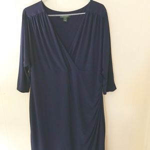 Ralph Lauren Navy Blue Ruched Jersey Wrap Dress